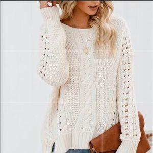 { MISIA } Cream Knit Crewneck Sweater